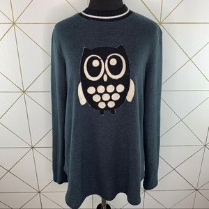 Le Lis 3D Owl Pullover Ribbed Neck Long Sleeve Top